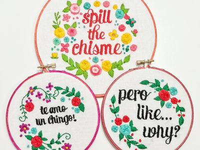 Spill the gossip, love you F much, But like...why? flowers creative spanglish spanish embroidery