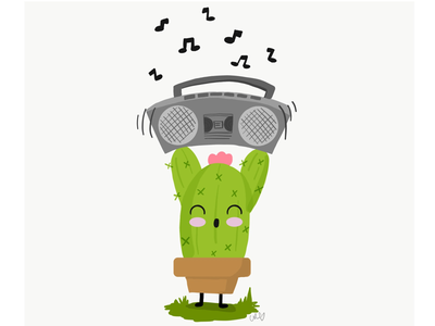 Cute cactus inspired by: Say Anything 80's movie art vector illustration cactus cute