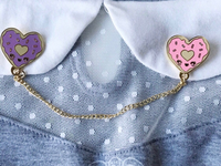 Decided to create my cute heart shape donuts into lapel pins