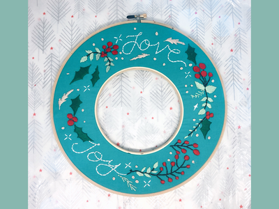 Holiday Embroidery Wreath! art artist creative embroidery holiday