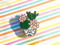 Cactus sugar skull lapel pin