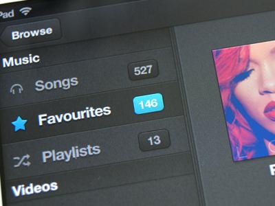 iPad Media App ui ipad media music favourites playlists songs videos grey rihanna coldplay tinie annah album covers interface.