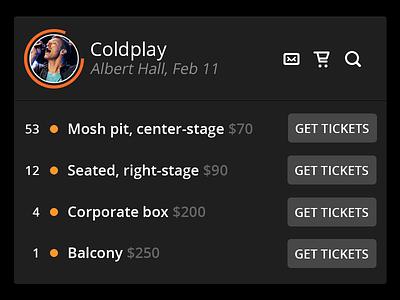 Tickets Widget ui widget concert tickets purchasing coldplay search mail cart