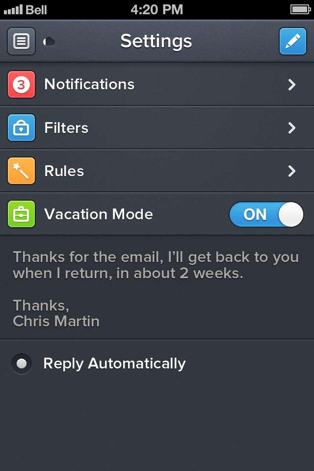 Edit settings 4s