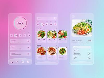 Diet Mobile App Design (Glassmorphism) ui ui design mobile app mobile app design mobile ui glassmorphism