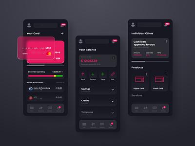 Banking Mobile App UX/UI Design minimal design ux app mobile ui mobile app design glassmorphism ui ui design mobile app