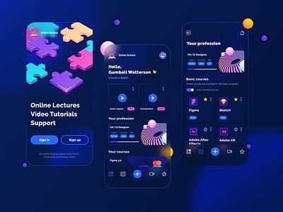 Online School Mobile App Design vector ux online school mobile app design design mobile ui mobile app glassmorphism