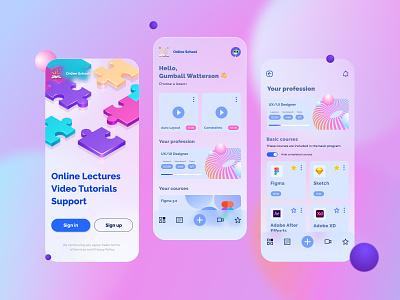 Online School Mobile App Design light theme web branding design ux online school app mobile ui mobile app design mobile app glassmorphism light theme