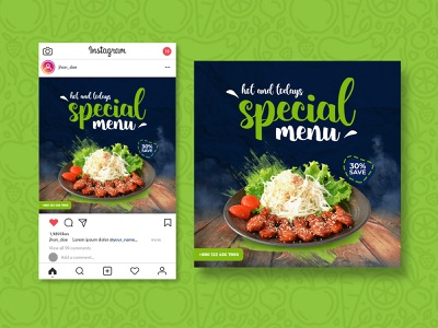 Instagram Post Design for Restaurant | Instagram Post foodie menu design restaurant brand restaurant menu ads banner google ads advertising facebook ads facebook banner web banner banner ads banner design banner food banner instagram stories instagram banner food restaurant instagram post instagram