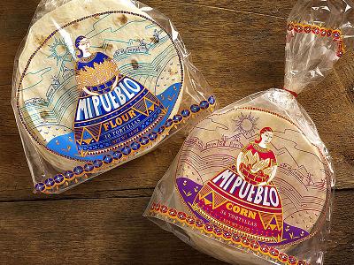 Mi Pueblo food mexican tortillas illustration packaging branding