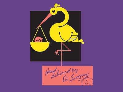 Stork vector geometry lettering illustration newborn baby bird stork