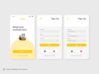 Making A Sign Up Design for Adopt Me dailyuichallenge dailyui modern illustration mobile app design ux ui design