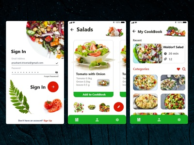Salad Book motion uxdesigner uidesigner designer application interaction mobile userinterface uxdesign uidesign inspiration animation uiux wireframe graphicdesign behance ui app ux design