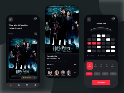Movie Ticket App UI movie app movies movie online booking app design branding 2020 app dailyui android app minimal design uidesign uiux ui typography