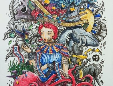 Mind Burst character popsurrealism contemporaryart artwork watercolorpainting traditional art fantasyart illustration