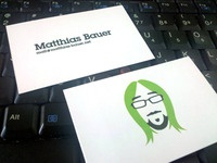 Printed results (business card for @moeffju)