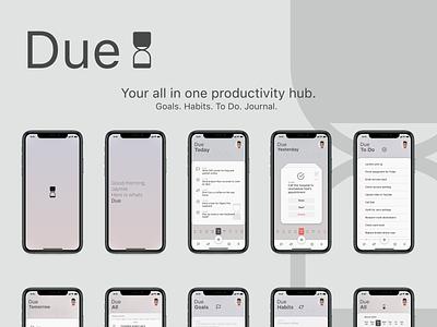 Due - Productivity Hub App UI Concept adobe apple interaction design product design app concept adobe illustrator adobe photoshop adobe xd uidesign ux ui