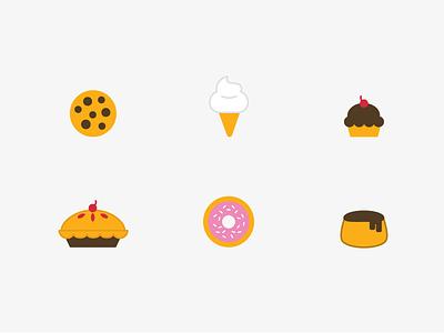 Desserts flan doughnut donut cupcake pie ice cream cookie icons design illustrator vector desserts