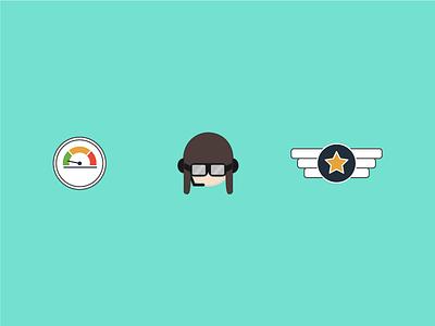 Pilot Icons (Unused) aviation illustration flying flight badge goggles pilot gauge vector icons