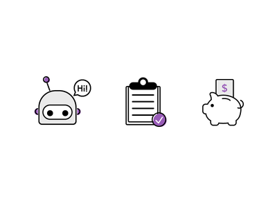 Icons for Pitch Deck payroll money pig piggy bank bank progress clipboard robot ai illustration vector icons