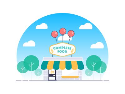 Complete Food popspots grocery balloons grocery store store vector illustration