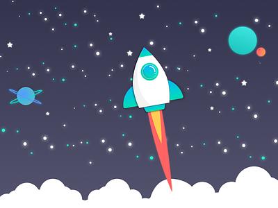 Blast Off! gradient spaceship vector blast off galaxy stars planets speed fire rocket illustration space