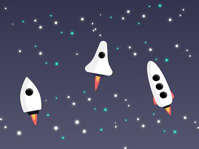 Rockets illustration vector spaceships space fire blast off rockets