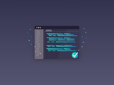 IDE vector gradient illustration check verified code develop developer ide