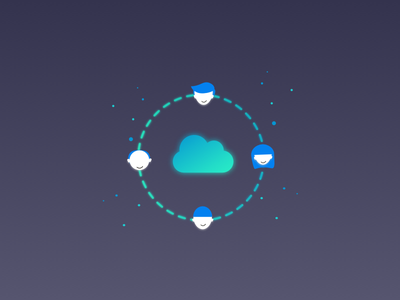 The Cloud illustration vector connect characters people gradient cloud