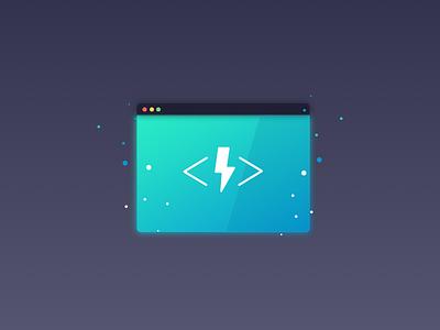 Instant Loading illustration vector gradient browser container code bolt lightning instant
