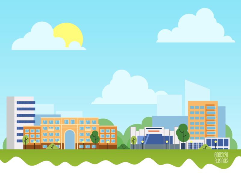 Sunny town cityscape landscapes landscape illustration gradient illustration vector flat ai illustrator city illustration landscaping landscape city