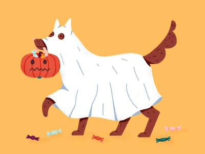 Trick or Treat sweets jack o lantern drawing photoshop illustration dogs trick or treat halloween dog