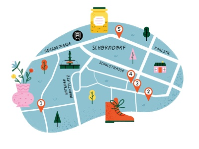 Map of Schorndorf rawing shopping map shoe vase shopping map illustration editorial map photoshop illustration