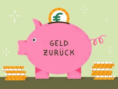 Piggy Bank for Deutsch Perfekt editorial photoshop drawing illustration tax coin euro omney pig piggy bank tax return