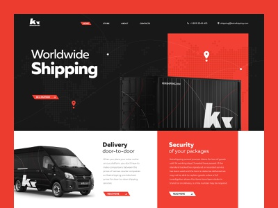 Logistic Company // Atman mockup black red landing page logistic