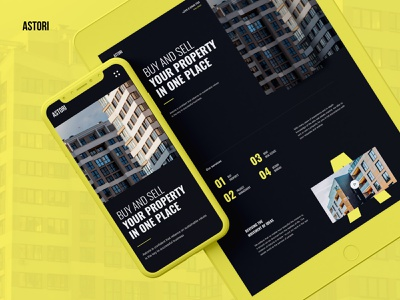 1st Page with Adative / Real Estate design ui mockup website black yellow black yellow real estate lp landing page