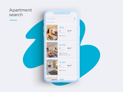 Apartment Search // Atman interface white blue app mobile design animation ui real estate