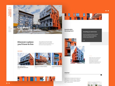 Coldwell Residence // Website white orange real estate ui website