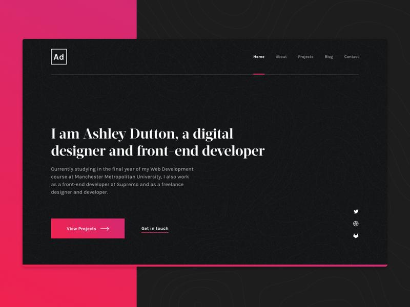 Ashley Dutton — Portfolio portfolio typography dark web ui design