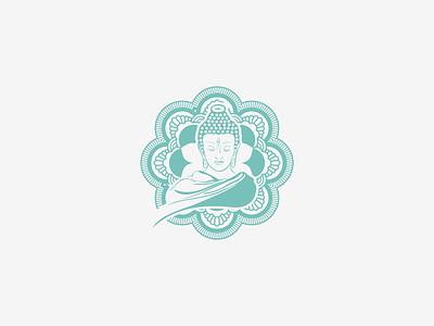 buddha illustration typography vector design logo