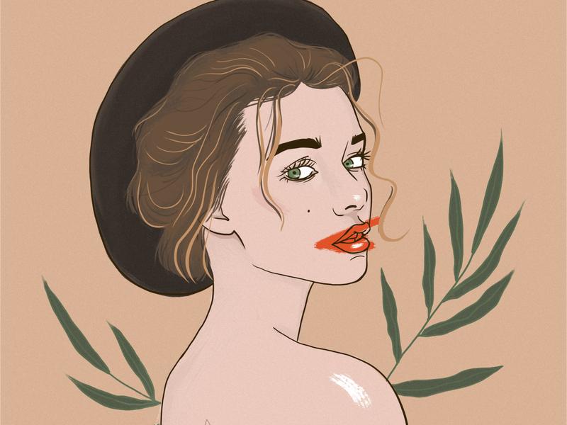 Girl in hat niki-kiki woman art illustration