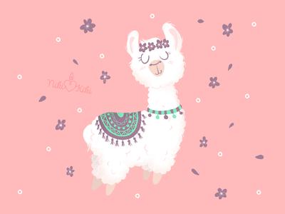 Cute hand drawn alpaca