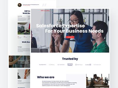 VRP Consulting Website website site layout minimal web design web developer home page homepage salesforce interface ux ui