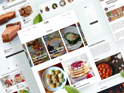 Foodtryb – Foodie Content Community website ui ux interface menu post home page navigation web design feed cooking food blogger news site news blog article minimal details layot