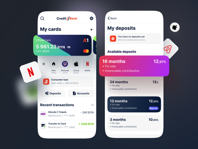 Mobile Banking App wallet transfer banking dashboard dashboard settings finance app banking app payments account cards finance banking fintech app design mobile interface ios ui app mobile ui