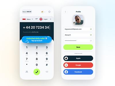 Phone Call Translator fields login controls conversation translation language account profile translator phone call call interface mobile ui ui app design ios mobile mobile app app