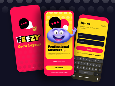 Feezy – App for Kids and Teachers education character 3d sign up login walkthrough fields onboarding splash screen app ui mobile ui mobile ux interface branding logo illustration application app ui