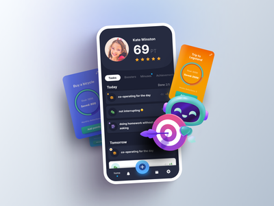 The Value Game – Motivational App for Kids education kids social avatar tabs profile tab bar rating character 3d data visualization cards charts app design interface ux app ui mobile mobile ui