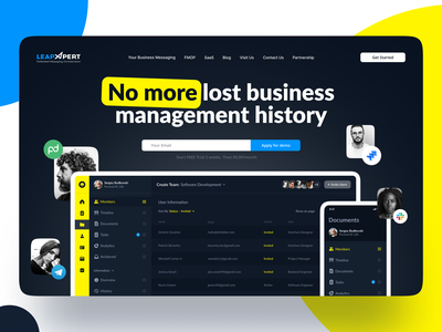 Landing Page for LeapXpert product page product side menu responsive home screen management app management b2b saas messenger chat dashboard ux ui web app landing page web web design landing website