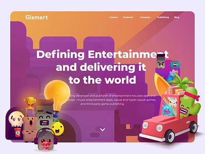 Gismart – Website of Game Developer layout game game developer game desigm characters motion animation charts art 3d game design ux ui landing page web web design landing website